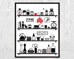 affiche cuisine kitchen poster kitchen wall mid century wall decor