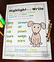 printable literacy practice parts of speech blends and chunks