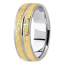 mens two tone gold wedding bands wedding band two tone 14k white yellow gold antique engraved
