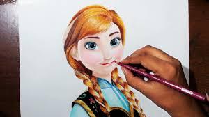 drawing anna movie u0027frozen u0027 prismacolor colored pencils