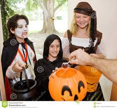 trick or treaters at door royalty free stock photography image