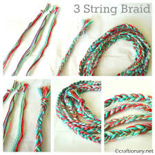 3 strings braid thread bracelet tutorial kids craft pinterest