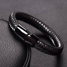 leather black bracelet images Limited edition stainless steel wire cable leather bracelet png