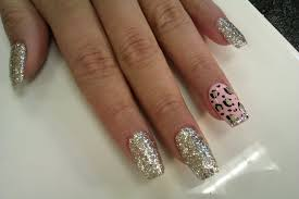 how to fill in acrylic coffin nails with silver glitter u0026 pink