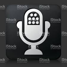 Radio Black Background Black Square Button With Microphone Icon Stock Vector Art