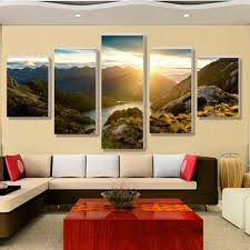 aliexpress com buy hot sale modern mountain and river landscape aliexpress com buy hot sale modern mountain and river landscape canvas painting 5 pieces wall art spectacular sunshine wall picture for living room from