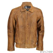 mens real leather vintage classic blouson collar er jacket