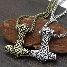 men norse viking amulet large thor hammer mjolnir odin face bear