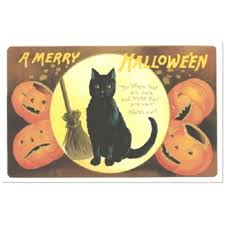 halloween black cat and pumpkin vintage replica post card shk 10