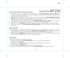 Radio Frequency Reference Guide Ibt232 Bluetooth Fm Clock Radio With Usb Charging User Manual