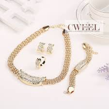 women necklace set images African beads jewelry sets fine wedding gold crystal necklace set jpg