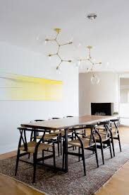 Dining Table Chandeliers Contemporary Dining Room Live Edge Dining Table Wishbone Chairs Brass