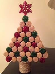 christmas tree made out of wine corks from our wedding reception