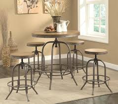 adjustable industrial style bar stools and round table set design