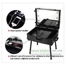 makeup luggage with lights professional rolling studio makeup case with led light speaker legs