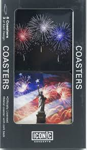 Flags And More Patriotic Coasters Statue Of Liberty With Flag And Fireworks