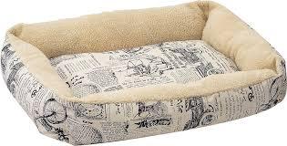 oxgord 1800 u0027s newspaper short velvet pet bed large chewy com
