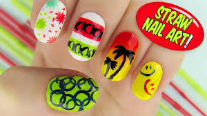 straw nail art 6 creative nail art designs using a straw youtube