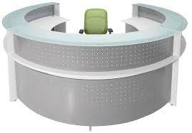 White Desk Glass Top White Semi Circular Glass Top Reception Desk