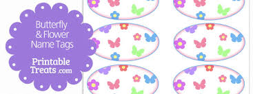butterfly and flower name tags printable treats com