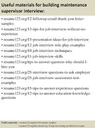 Maintenance Supervisor Resume Template Top 8 Building Maintenance Supervisor Resume Samples