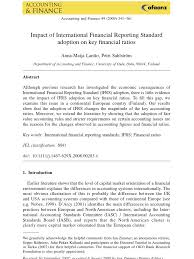Ifrs Income Statement Template by Impact Of Ifrs On Financial Ratios International Financial