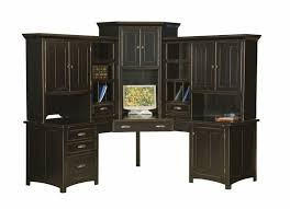 Black Corner Computer Desks For Home Large Amish Corner Computer Center Desk Hutch Home Office Wood