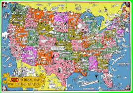 map of the united states a mad pictorial map of united states front mad magazine 1981
