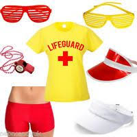 Lifeguard Halloween Costume Red Inflatable Fancy Dress Lifeguard Torpedo Lifesaving Float