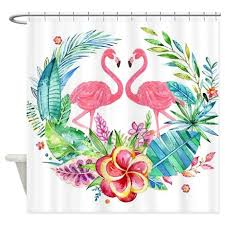 Flamingo Shower Curtains Colorful Tropical Wreath U0026 Flamingo Shower Curtain By Admin Cp63016328