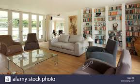 Large Artwork For Living Room Modern Living Room With Neutral Furniture And Large Wall Book Case