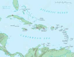 Antigua Map Caribbean Large And Lesser Antilles Political Map Stock Photo