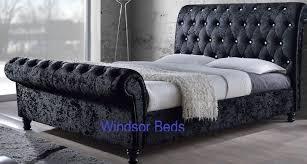 Crushed Velvet Fabric Upholstery 3ft 4ft6 5ft 6ft Astral Crush Velvet Fabric Upholstered Sleigh