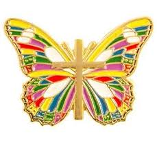 butterfly gold cross multicolor pin