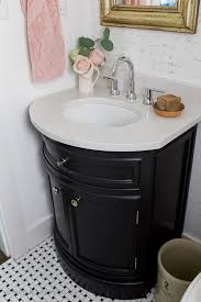 black white u0026 french powder room makeover so much better with age