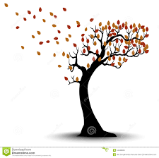 brown tree decorative autumn tree silhouette with brown leaves and wind stock