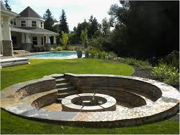backyards cool backyard landscaping ideas fire pit amusing round