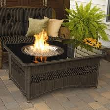 Firepit Patio Table by Outdoor Fire Pit Coffee Table Lp Gas Fireplace Glass Top Wicker