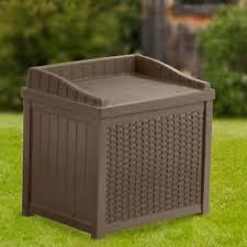 Suncast Resin Wicker 22 Gallon Storage Seat Yard Garden Patio