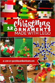 12 ornaments made with lego spaceships and laser beams