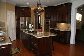 Kitchen Cherry Cabinets by Dark Cherry Cabinets Kitchen Traditional With Built In Fridge