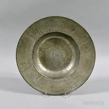 personalized pewter plate german revival engraved pewter plate sale number 3016t lot