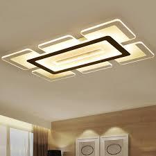 chambre lumiere moderne led plafonnier rectangulaire et carré salon lumière