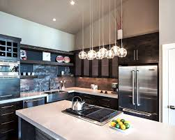Black Kitchen Countertops With Backsplash Kitchen Pendant Lamp Refrigerator Kettle Electrical Range White