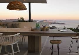 Modern House Furniture Wooden Outdoor Dining Table Sea Views Terrace Modern House In