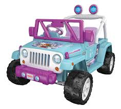 purple jeep amazon com power wheels disney frozen jeep wrangler baby blue