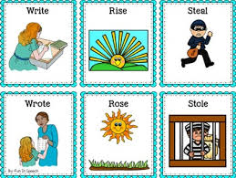 write the pattern of past tense and give exle irregular past tense verb cards organized by pattern of change by
