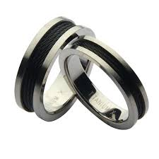 black wedding rings his and hers his hers titanium black steel cable wedding rings 5 7mm