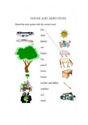 english worksheets nouns and adjectives for kids
