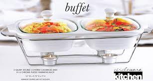 circleware ceramic chafer double buffet server warmer baker